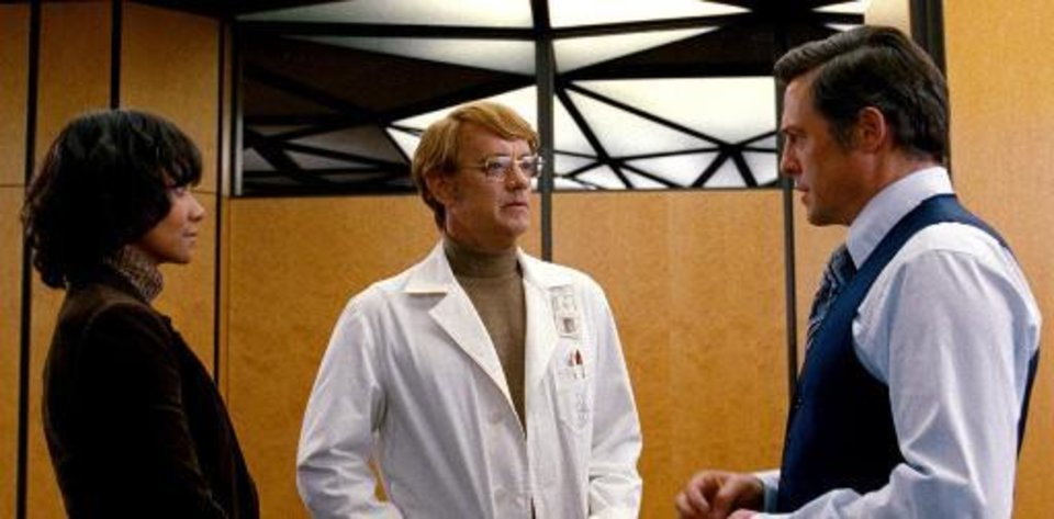 "From left, Halle Berry, Tom Hanks and Hugh Grant appear in a 1970s plotline, one of the six intersecting stories told in the movie ""Cloud Atlas."""