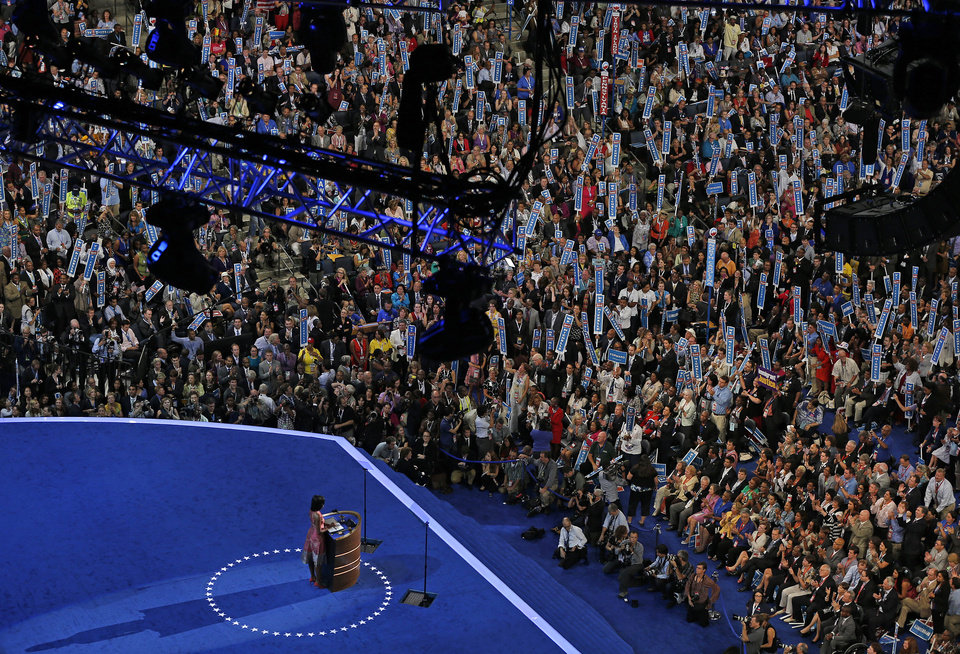 Photo - First Lady Michelle Obama addresses 196the Democratic National Convention in Charlotte, N.C., on Tuesday, Sept. 4, 2012. (AP Photo/Carolyn Kaster)  ORG XMIT: DNC196