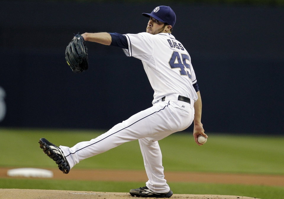 Photo -   San Diego Padres starting pitcher Anthony Bass throws against the Miami Marlins in the first inning during their baseball game, Friday, May 4, 2012, in San Diego. (AP Photo/Gregory Bull)