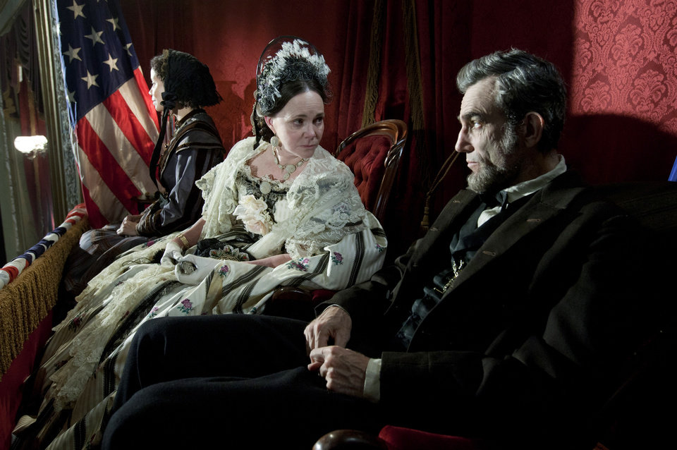Photo - This image released by DreamWorks II Distribution Co., LLC and Twentieth Century Fox Film Corporation shows Sally Field and Daniel Day-Lewis appear in a scene from