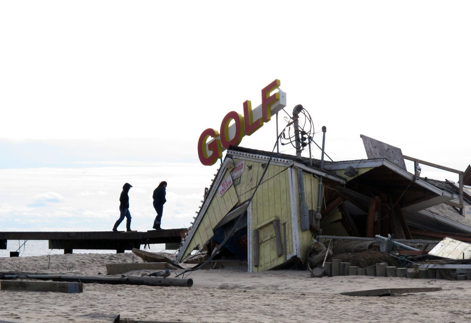 Photo -   A mini-golf course on the boardwalk in Point Pleasant Beach N.J., shown here on Nov. 1, 2012, was destroyed by Hurricane Sandy. The storm wrecked boardwalks and amusements up and down the 127-mile Jersey shore. (AP Photo/Wayne Parry)