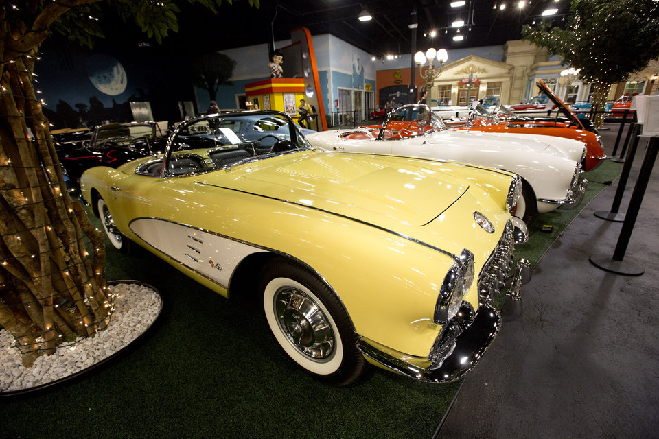 "This Monday, Nov. 26, 2012 photo shows a row of 1950's Corvettes sitting in a private auto museum in North Palm Beach, Fla. John Staluppi has spent a lifetime selling cars, so successful in his trade he boasts more than two dozen dealerships and more sales than he ever could count. But even he has never seen a sale like this. Staluppi is liquidating his Cars of Dreams Museum and its 115 collector vehicles in an auction Saturday. The Batmobile, the Evel Knievel motorcycle, the lines and lines of perfectly shined cars, all of them will be gone. ""I'm starting to get sad,"" he admits. (AP Photo/J Pat Carter)"