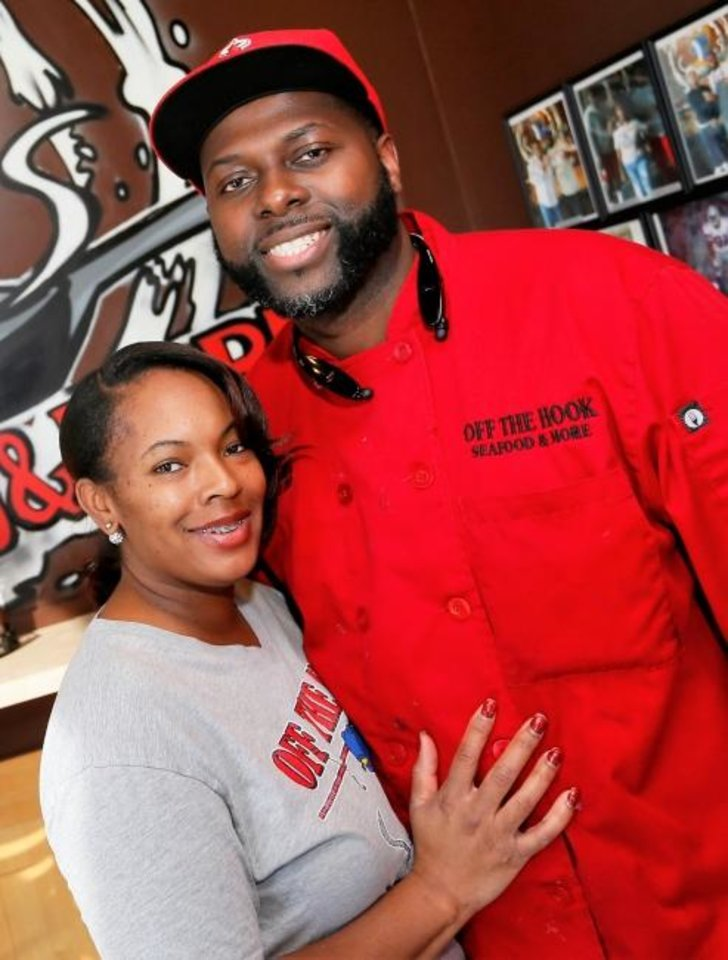 Photo - Loniesha Tempson-Harris and her husband, Corey Harris, owners of Off the Hook Seafood and More, at 125 W. Britton Rd. in Oklahoma City, Wednesday, Feb. 15, 2017. Photo by Nate Billings, The Oklahoman