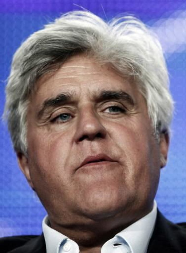 "In this Aug. 5, 2009 file photo, Jay  Leno speaks during the panel for ""The Jay  Leno Show"" at the NBC Universal Television Critics Association summer press tour in Pasadena, Calif. (AP Photo/Matt Sayles, file)"