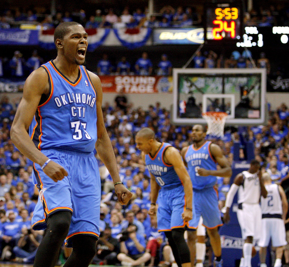 Photo - Oklahoma City's Kevin Durant celebrates during Game 3 of the first round in the NBA playoffs between the Oklahoma City Thunder and the Dallas Mavericks at American Airlines Center in Dallas, Thursday, May 3, 2012. Oklahoma City won 95-79. Photo by Bryan Terry, The Oklahoman