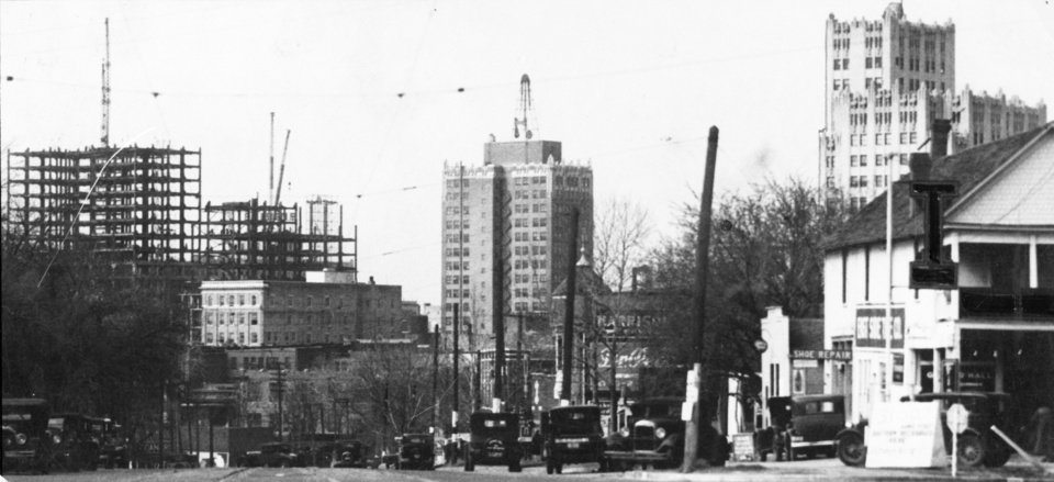 OKLAHOMA CITY / SKYLINE / OKLAHOMA:  Oklahoma City - Skyline from Harrison Ave. & Fifth St.  Photo undated and published 04/19/1931 in The Daily Oklahoman.