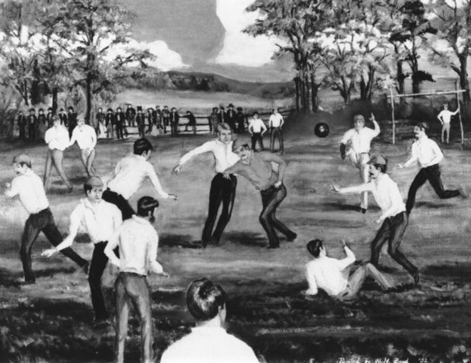 Photo -  Needless to say, but college football has changed significantly from the first game 150 years ago between Rutgers and Princeton on Sept. 27, 1869, as seen in this artist's conception. [AP PHOTO]