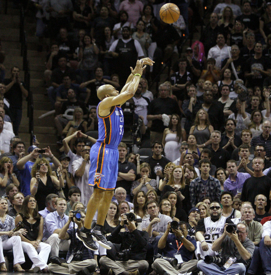 Photo - Oklahoma City's Derek Fisher (37) shoots a basket during Game 1 of the Western Conference Finals between the Oklahoma City Thunder and the San Antonio Spurs in the NBA playoffs at the AT&T Center in San Antonio, Texas, Sunday, May 27, 2012. Oklahoma City lost 101-98. Photo by Bryan Terry, The Oklahoman