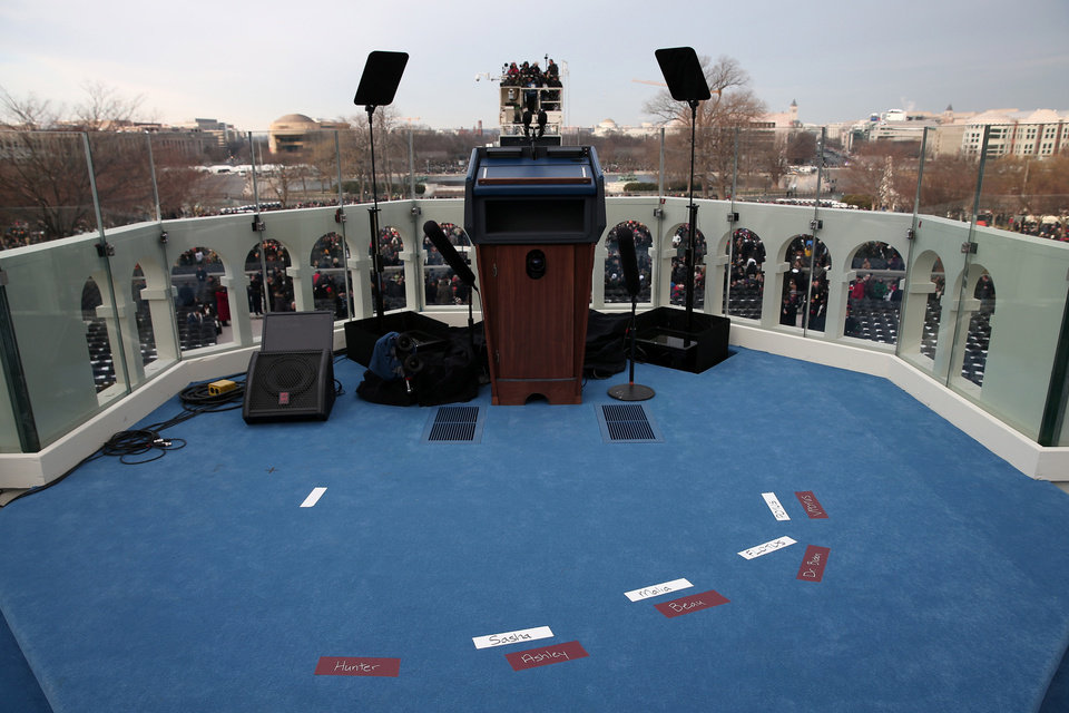 Placemarks are set on the West Front of the Capitol in Washington, Monday, Jan. 21, 2013, in preparation for the President Barack Obama's ceremonial swearing in during the 57th Presidential Inauguration.  (AP Photo/Win McNamee, Pool)
