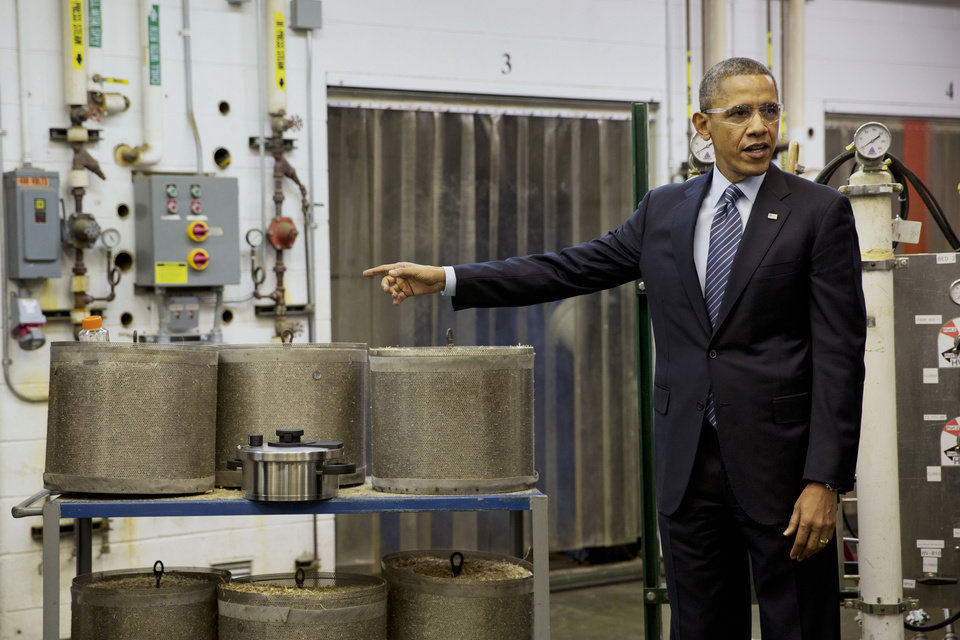 Photo - President Barack Obama tours the biomass conversion process area at the Michigan Biotechnology Institute in Lansing, Mich., Friday, Feb. 7, 2014. While in Michigan the president is expected to speak about the farm bill. (AP Photo/Jacquelyn Martin)