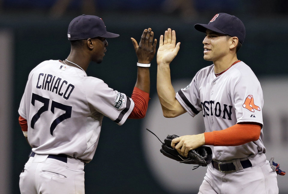 Photo -   Boston Red Sox's Jacoby Ellsbury, right, high-fives teammate Pedro Ciriaco after the team defeated the Tampa Bay Rays 5-2 during a baseball game, Monday, Sept. 17, 2012, in St. Petersburg, Fla. (AP Photo/Chris O'Meara)