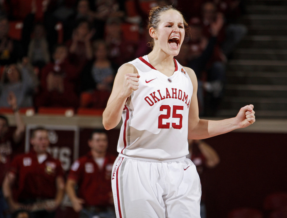 Oklahoma's Whitney Hand celebrates during a game vs. Texas Tech in January 2012 at the Lloyd Noble Center in Norman. PHOTO BY BRYAN TERRY, The Oklahoman Archives