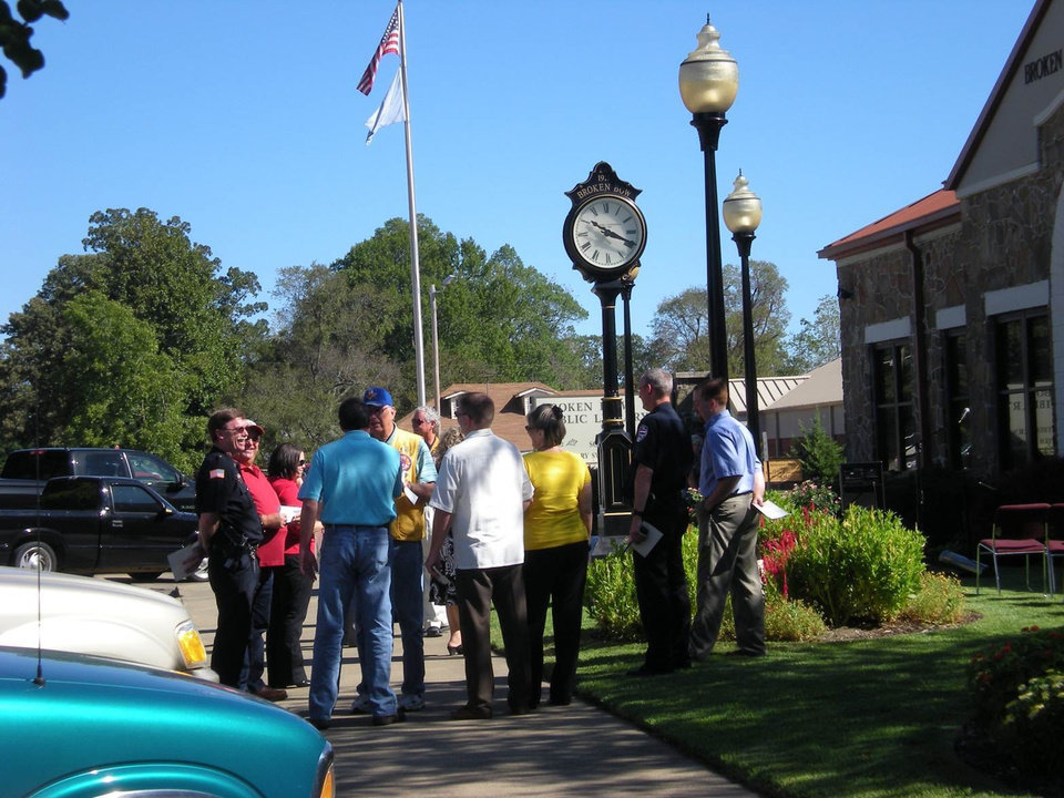 Photo - Gathering for the Broken Bow Centennial Celebration Proclamation Event at Broken Bow Library Sept. 6, 2011