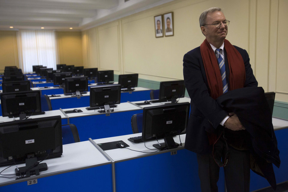 Photo - Executive Chairman of Google, Eric Schmidt tours a computer lab at Kim Il Sung University in Pyongyang, North Korea on Tuesday, Jan. 8, 2013. Schmidt is the highest-profile U.S. executive to visit North Korea - a country with notoriously restrictive online policies - since young leader Kim Jong Un took power a year ago. (AP Photo/David Guttenfelder)