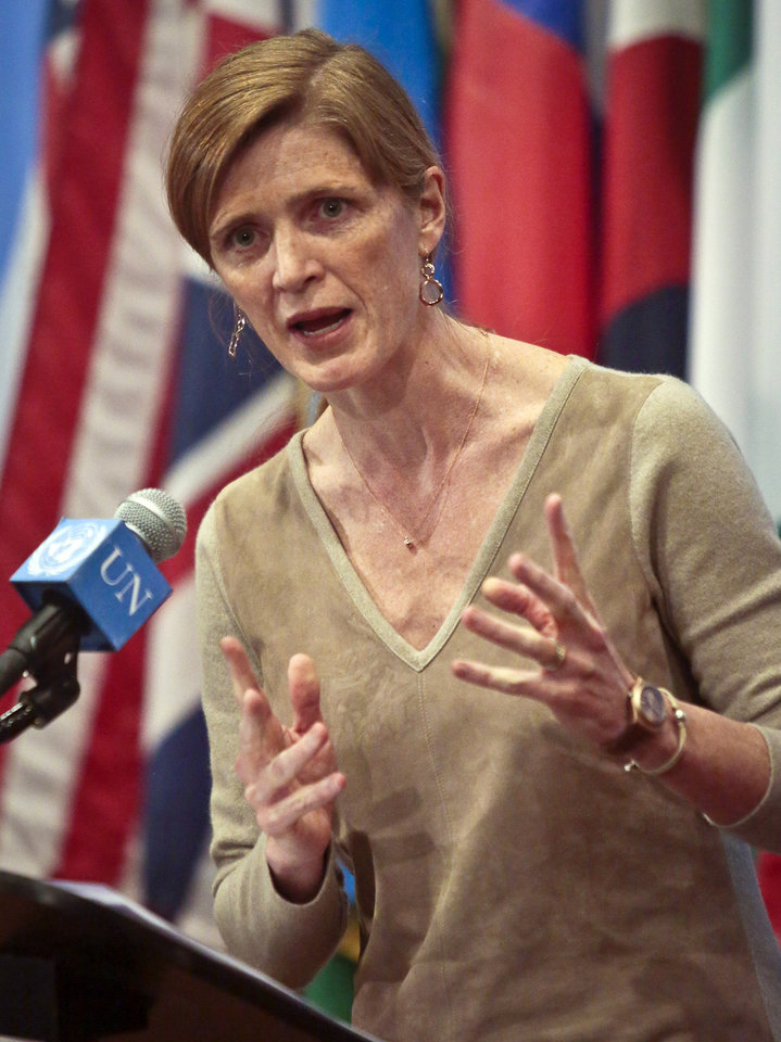 Photo - Samantha Power, U.S. Ambassador to the U.N., speaks during a news conference after a private U.N. Security Council meeting on the Ukraine, Friday, Feb. 28, 2014, at United Nation headquarters. (AP Photo/Bebeto Matthews)