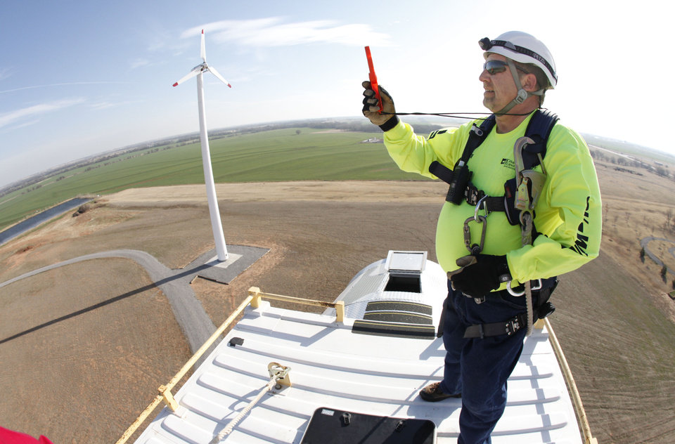 Industry Trainer Gary Weaver takes a wind speed reading from the top of a training tower at the Canadian Valley Technology Center in El Reno, OK, Thursday, March 3, 2011. Canadian Valley Technology Center is expanding its wind program. By Paul Hellstern, The Oklahoman