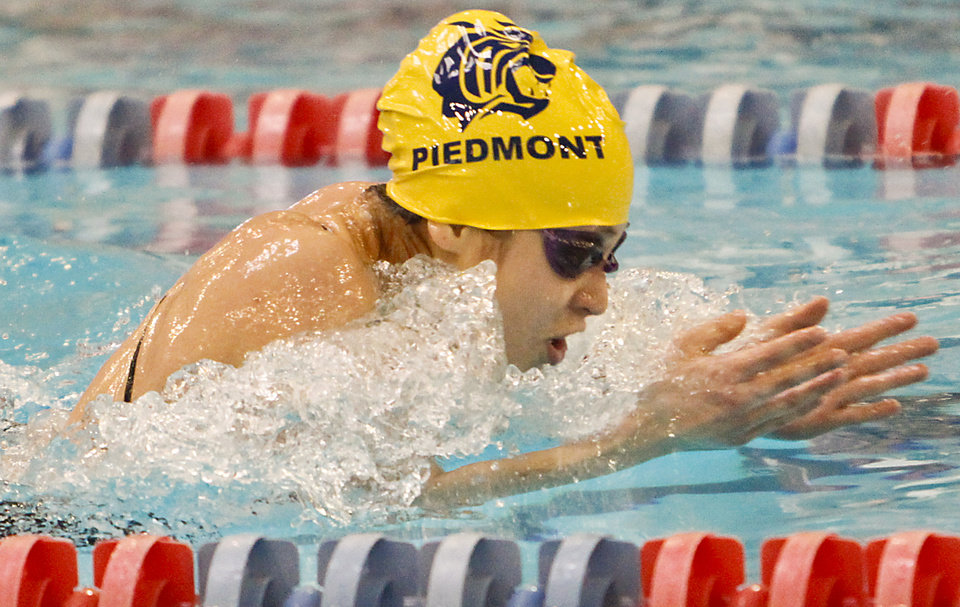 Piedmont's Kasey Rein competes in the 200 yard IM event during the OSSAA class 5A state championship swim meet at the Oklahoma City Community College on Friday, Feb. 17, 2012, in Oklahoma City, Okla. Photo by Chris Landsberger, The Oklahoman