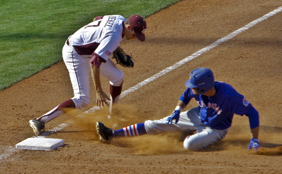 Photo - Texas A&M's Matt Juengel (17) commits an error as Kansas' Jake Marasco (24) slides into third base during the Big 12 baseball tournament game between Texas A&M University and the University of Kansas at the Chickasaw Bricktown Ballparkon Wednesday, May 23, 2012, in Oklahoma City, Oklahoma. Photo by Chris Landsberger, The Oklahoman
