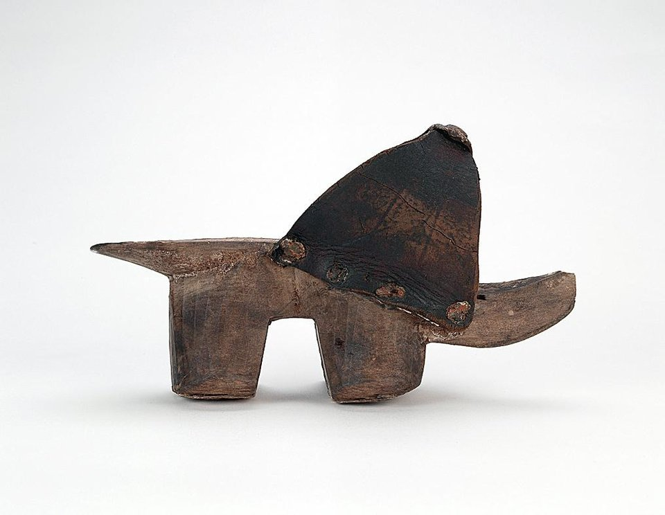 European stilted clogs, such as this 15th-century example, were simple, carved wooden platforms. The shape was probably based on the qabqab worn in the Near East and was adopted by wealthy Europeans in the 13th century as a fashion item. Such clogs fell out of favor at the end of the 15th century. AP PHOTO