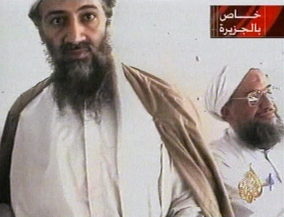 Photo -   FILE - This undated image taken from video released by Qatar's Al-Jazeera televison broadcast Oct. 5, 2001, purports to show al-Qaida leader Osama bin Laden, left, and his top lieutenant, Egyptian Ayman al-Zawahiri. Al-Qaida's image was a top concern on Osama bin Laden's mind in the last months of his life. In letters captured in the U.S. raid that killed him, the terror leader complains that al-Qaida branches kill too many Muslim civilians, turning the public against them. (AP Photo/Courtesy of Al-Jazeera via AP video, File)