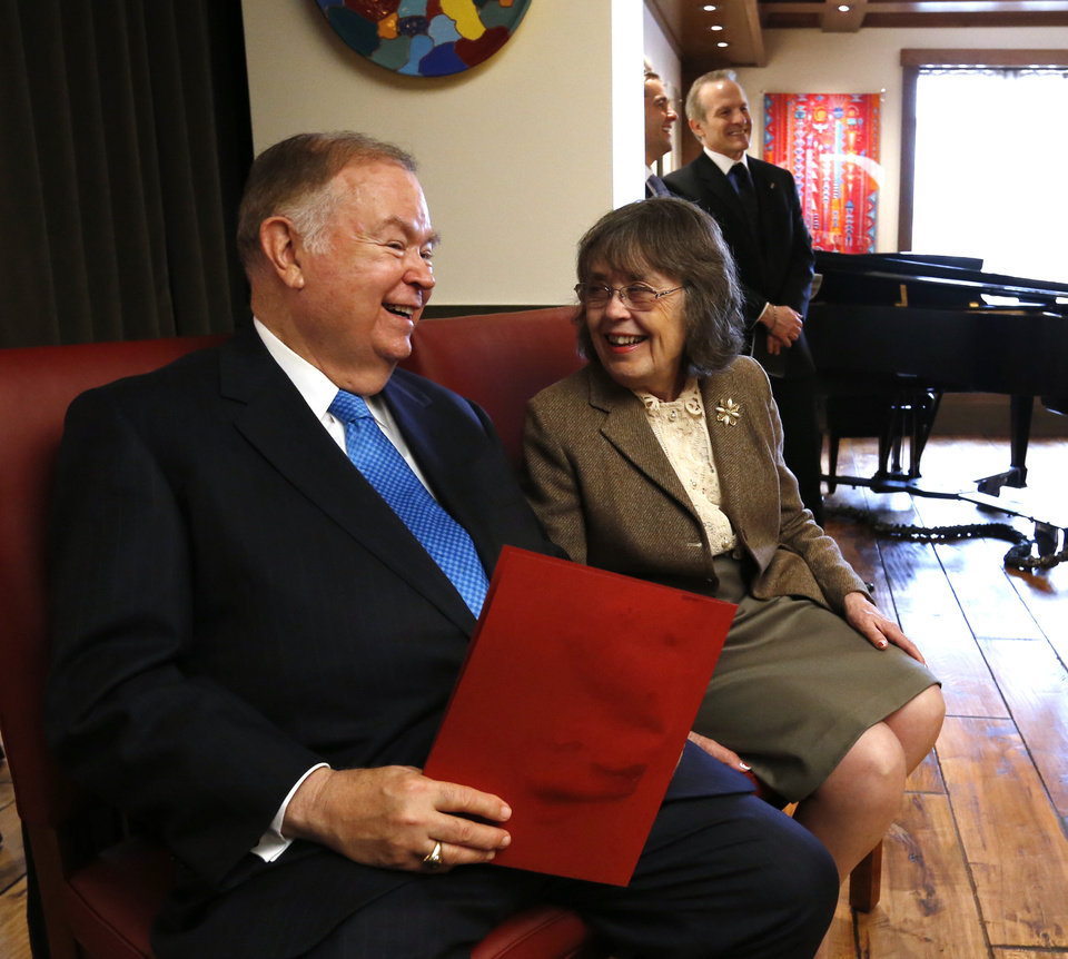 President David L. Boren and Jan Marie Crawford open the remodeled Crawford University Club in the Memorial Student Union of the University of Oklahoma (OU) on Tuesday, April 9, 2013 in Norman, Okla.  Photo by Steve Sisney, The Oklahoman