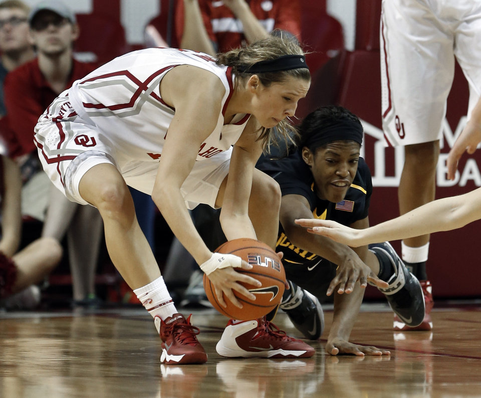 Oklahoma\'s Morgan Hook comes up with a loose ball under the Shockers\' basket as Michelle Price dives for it in the second half as the University of Oklahoma Sooners (OU) play the Wichita State Shockers in NCAA, women\'s college basketball at The Lloyd Noble Center on Sunday, Nov. 10, 2013 in Norman, Okla. Photo by Steve Sisney, The Oklahoman