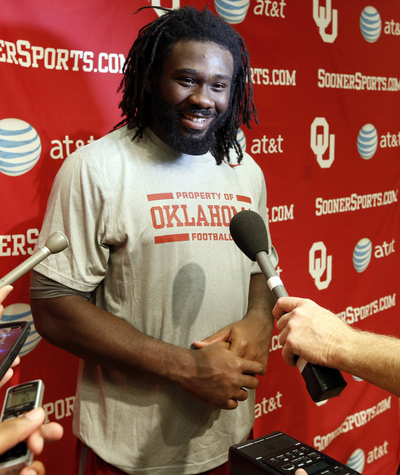 Defensive end Charles Tapper speaks to the media during the college football press conference for the University of Oklahoma Sooners (OU) at Gaylord Family-Oklahoma Memorial Stadium in Norman, Okla., Monday, Aug. 26, 2013. Photo by Steve Sisney, The Oklahoman