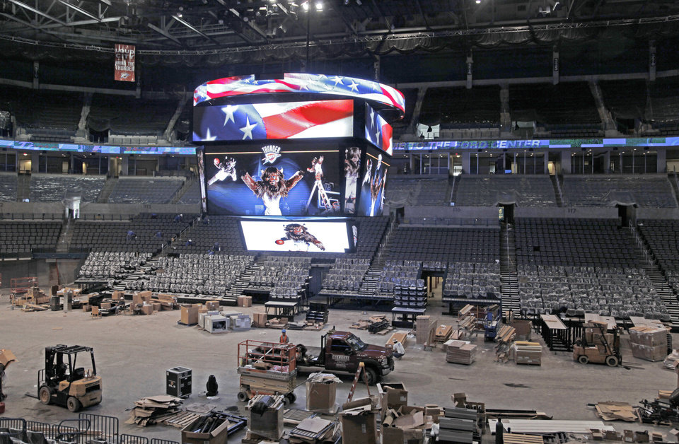 Photo - A new scoreboard is the centerpiece of the renovations going on at the Ford Center. Photo By Nate Billings, The Oklahoman