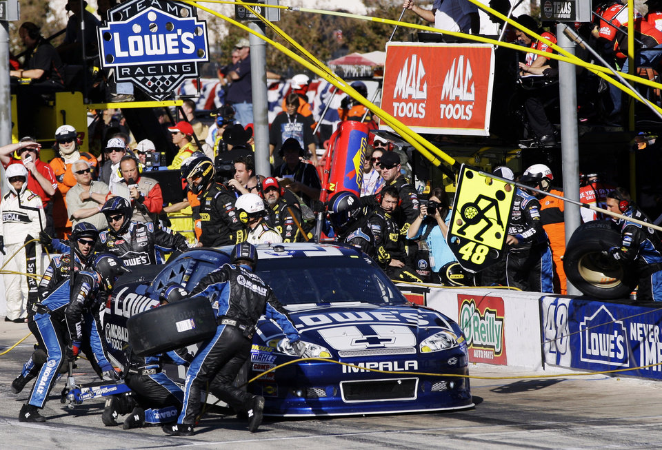 Photo -   Jimmie Johnson has his car serviced during the NASCAR Sprint Cup Series auto race, Sunday, Nov. 4, 2012, in Fort Worth, Texas. (AP Photo/Tony Gutierrez)