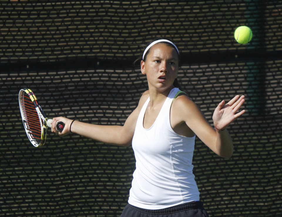 Photo - CLASS 5A GIRLS HIGH SCHOOL TENNIS / STATE TOURNAMENT: Christina Gomez of Durant returns the ball to opponent Nicole Hacker of Piedmont during the 5A Girls State Tennis tournament at the OKC Tennis Center in Oklahoma City, OK, Friday, May 3, 2013,  By Paul Hellstern, The Oklahoman