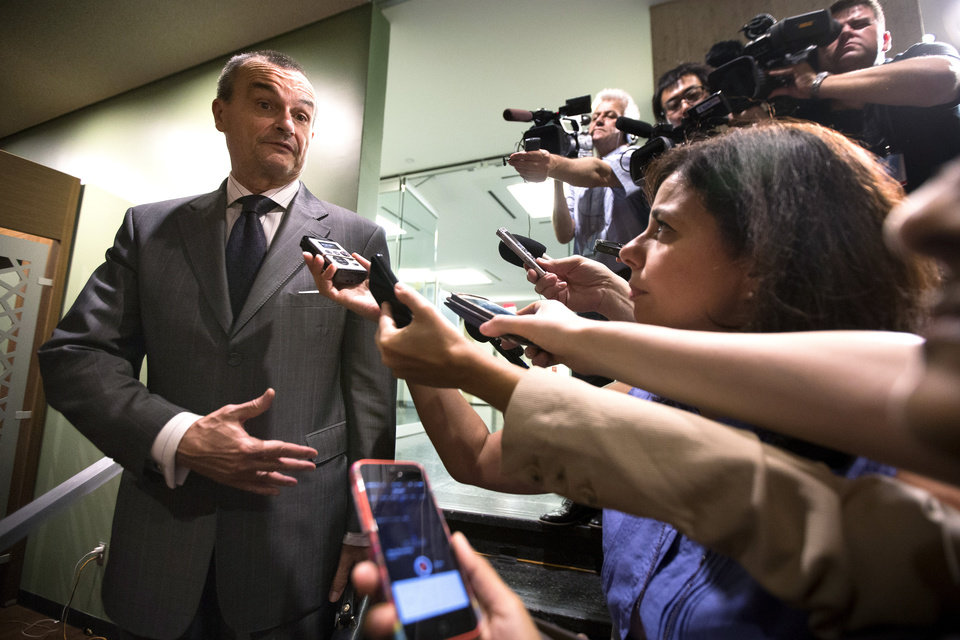Photo - French U.N. Ambassador Gérard Araud speaks to the media before an emergency meeting of the U.N. Security Council at United Nations headquarters, Sunday, July 20, 2014. Araud tweeted that the meeting is being held at the request of council member Jordan. A Jordan-drafted resolution obtained by The Associated Press expresses