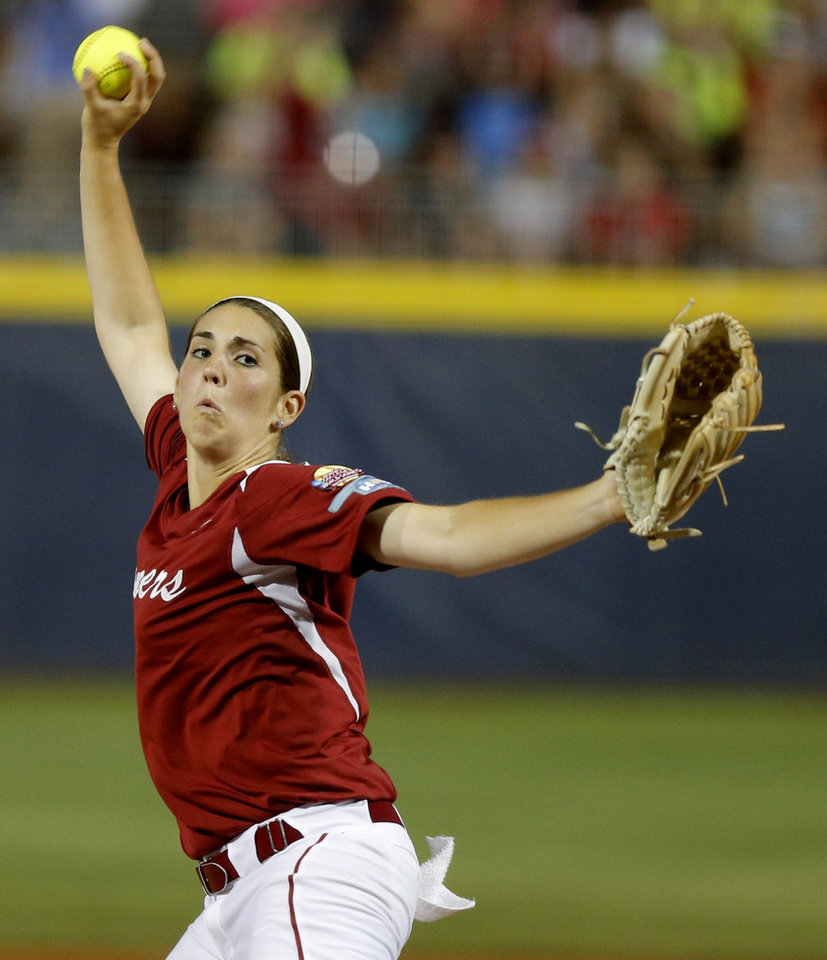 Photo - OU's Kelsey Steven pitches during a Women's College World Series game between at ASA Hall of Fame Stadium in Oklahoma City Thursday, May 29, 2014. Photo by Bryan Terry, The Oklahoman