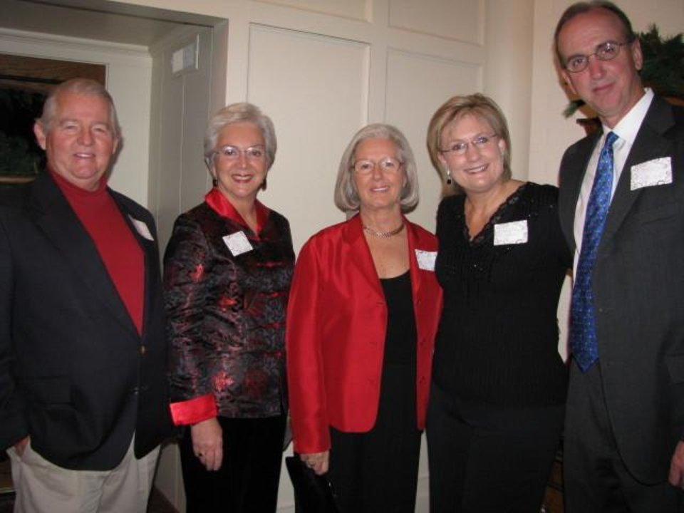 CHRISTMAS CHEER...Ed Shapard, Ann Ryan, Sandy Shapard, Mary Kay Samis and Brad Kemp kick off the holiday season at the Kappa Alpha Theta Oklahoma City alumnae chapter's Christmas party. (Photo provided)