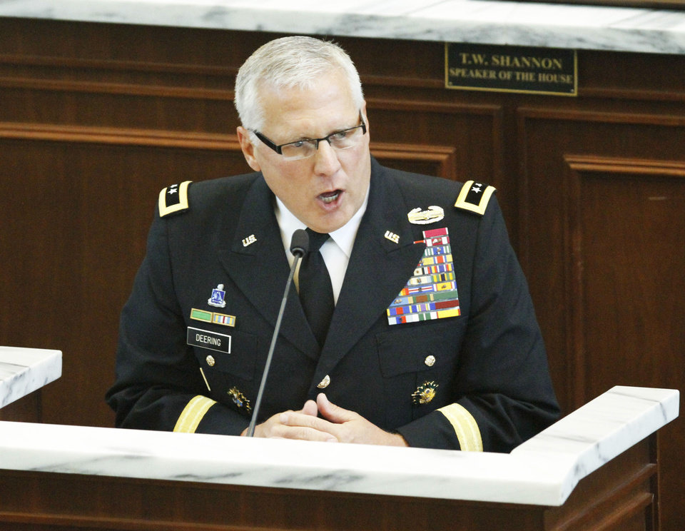 Photo - Major General Myles Deering, Adjutant General speaks during 45th infantry Division appreciation day at the State Capitol in Oklahoma City, Tuesday April 9, 2013. Photo By Steve Gooch, The Oklahoman ORG XMIT: OKC1303121532440650
