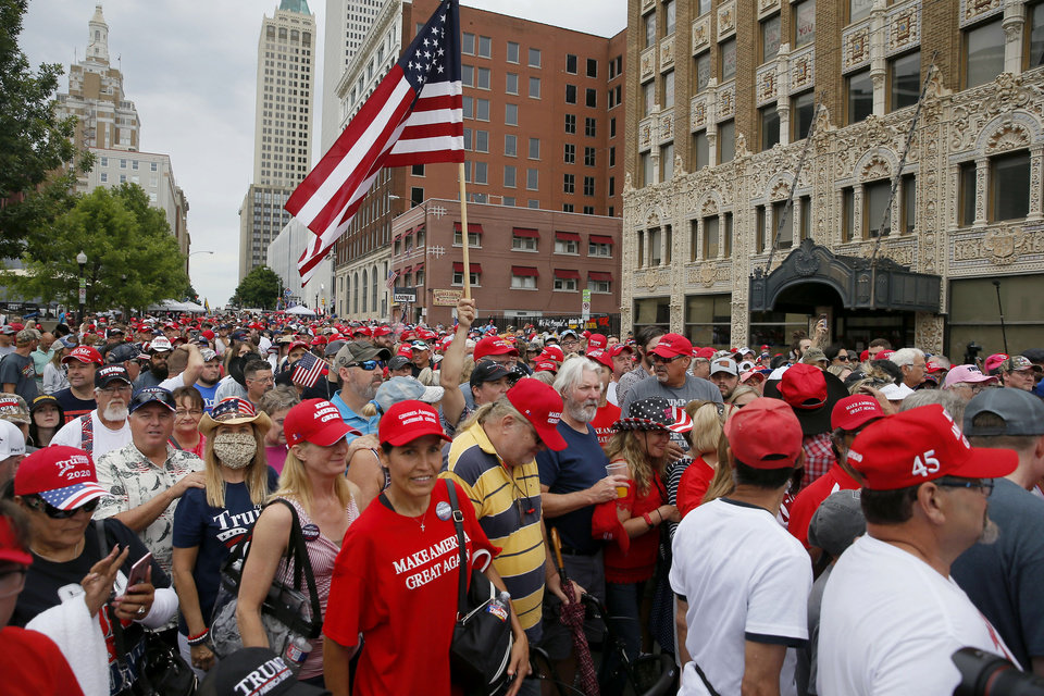 Photo - President Donald Trump supporters line up to enter a security gate before a rally at the BOK Center in Tulsa, Okla., Saturday, June 20, 2020. [Bryan Terry/The Oklahoman]