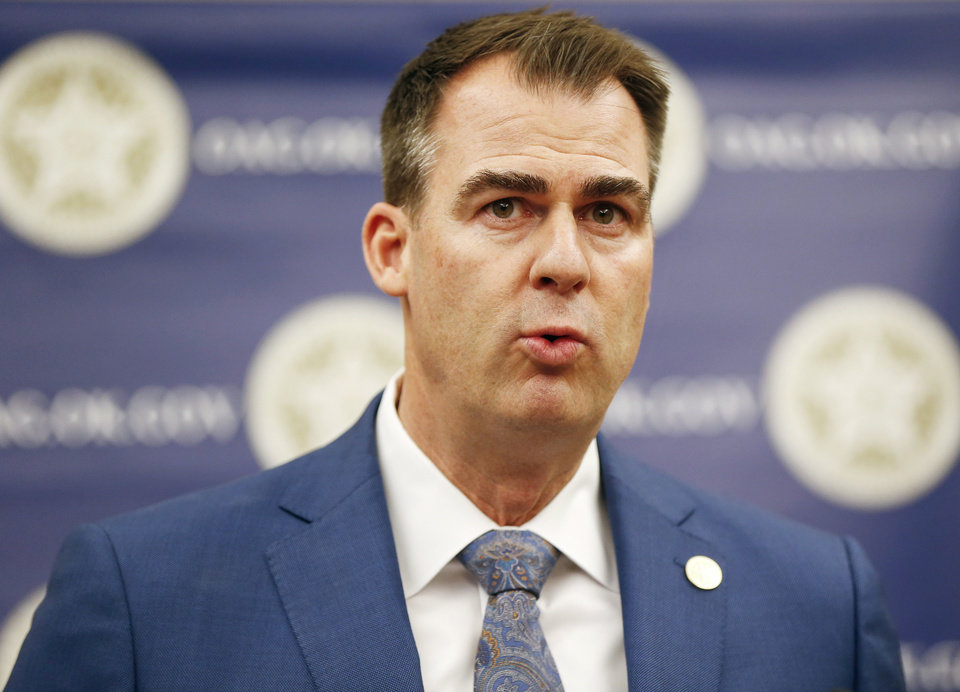 Photo - Oklahoma Gov. Kevin Stitt speaks during a press conference announcing plans for Oklahoma to resume executions by lethal injection, at the Office of the Attorney General, 313 NE 21, in Oklahoma City, Thursday, Feb. 13, 2020. [Nate Billings/The Oklahoman]