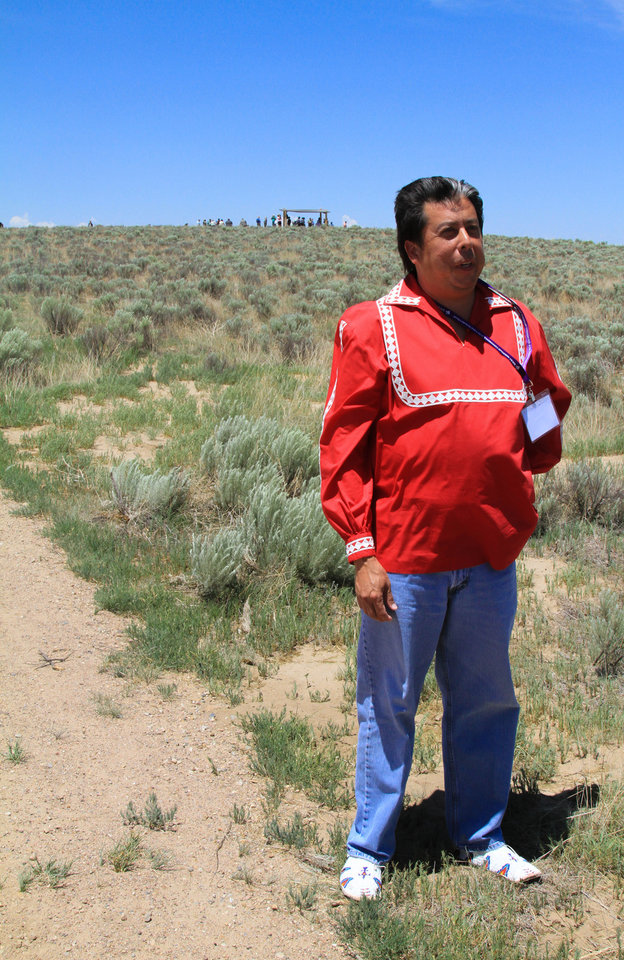 Photo -  The Rev. David Wilson, superintendent of the United Methodist Oklahoma Indian Missionary Conference, participates in a recent United Methodist-hosted pilgrimage to the site of the Sand Creek Massacre in Eads, Colo. Photo by Ginny Underwood