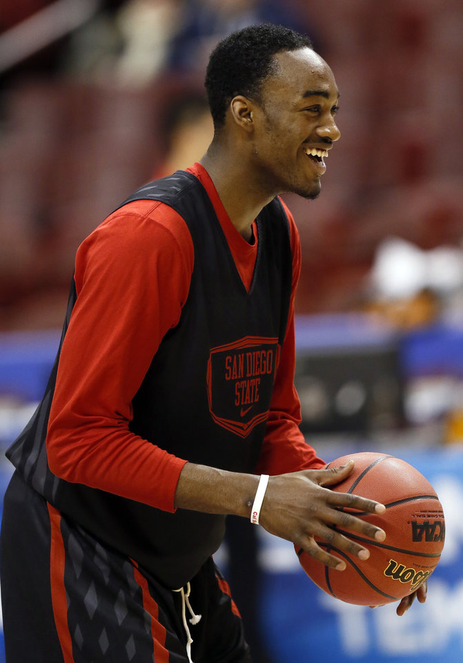 San Diego State\'s Jamaal Franklin (21) smiles during the practice and press conference day for the second round of the NCAA men\'s college basketball tournament at the Wells Fargo Center in Philadelphia, Thursday, March 21, 2013. OU will play San Diego State in the second round on Friday. Photo by Nate Billings, The Oklahoman