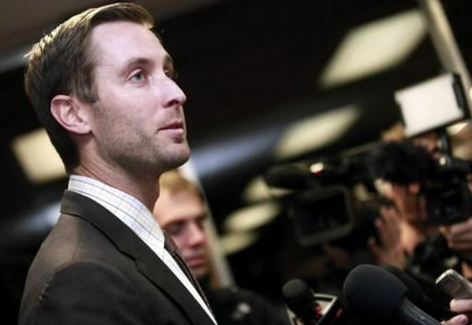 New Texas Tech coach Kliff Kingsbury talks with reporters at Lubbock International Airport in Lubbock, Texas, Wednesday, Dec. 12, 2012. Kingsbury was announced as the new Texas Tech head football coach on Wednesday. (AP Photo/The Avalanche-Journal, Stephen Spillman)