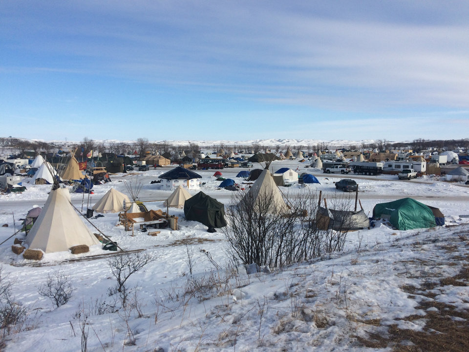 Photo -  Shelters can be seen within the Oceti Sakowin Camp on the Standing Rock Indian Reservation in North Dakota. [Photo by Graham Lee Brewer, The Oklahoman]