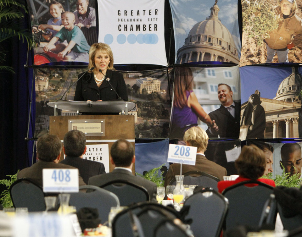 Gov. Mary Fallin speaks to the Greater Oklahoma City Chamber of Commerce Thursday during a breakfast at Oklahoma Christian University in Oklahoma City. Photo By Paul Hellstern, The Oklahoman <strong>PAUL HELLSTERN - Oklahoman</strong>
