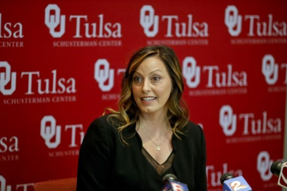 Photo -  Oklahoma Head Women's Gymnastics coach K.J. Kindler addresses media during the Sooner Caravan at the University of Oklahoma-Tulsa Schusterman Center on Thursday, May 31, 2018. IAN MAULE/Tulsa World
