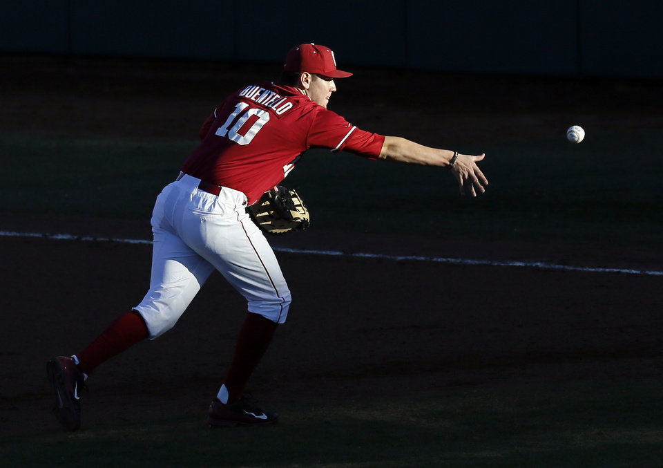 Photo - OU's Niko Buentell (10) tosses the ball to first base for an out in the sixth inning during OU's season-opening college baseball game against Seton Hall at L. Dale Mitchell Park in Norman,  Okla., Friday, Feb. 14, 2014. Photo by Nate Billings, The Oklahoman