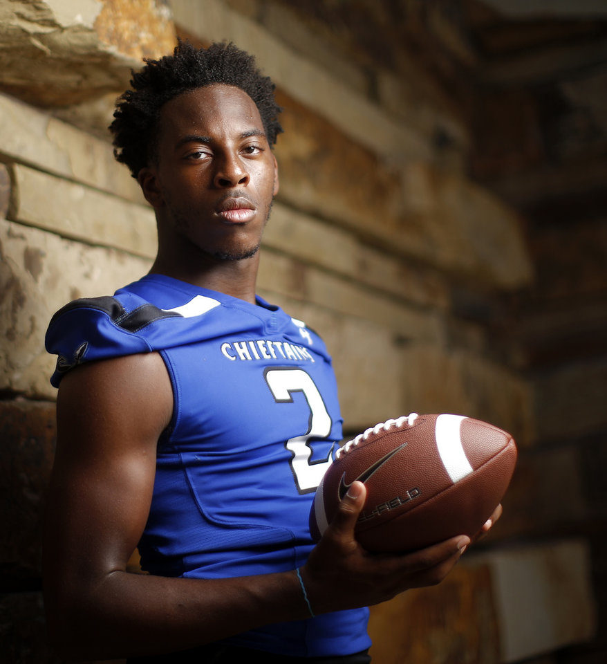 Photo - Sapulpa's Eli Williams poses for a photo for The Oklahoman's Super 30 high school football player series at The Gathering Place in Tulsa, Okla., Thursday, June 20, 2019. [Bryan Terry/The Oklahoman]