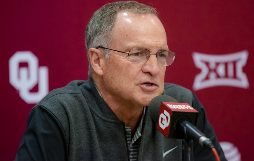 Photo - University of Oklahoma men's basketball coach Lon Kruger speaks to the media during media day at the Lloyd Noble Center on Wednesday, Oct. 30, 2019 in Norman, Okla. [Chris Landsberger/The Oklahoman]