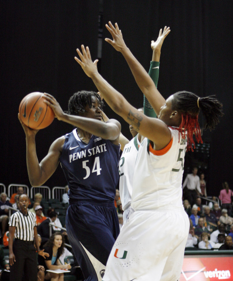 Penn State's Nikki Greene, left, controls the ball as Miami Hurricanes' Maria Brown right, defends during the first half of an NCAA women's college basketball game in Miami, Thursday, Nov. 29, 2012. (AP Photo/Jeffrey M. Boan)