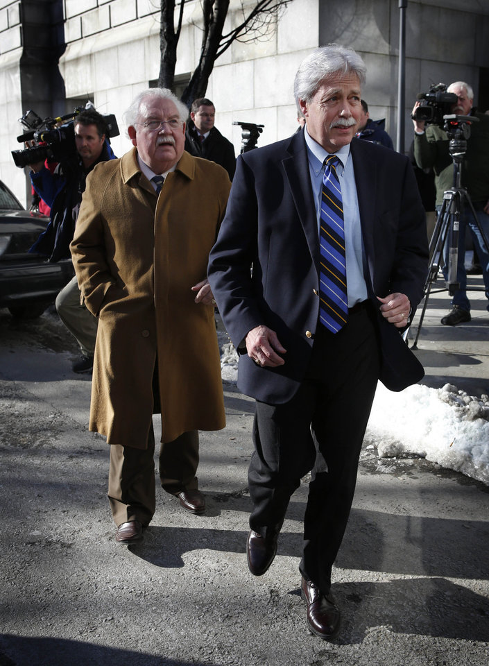 FILE - In this Jan. 18, 2013 file photo, Mark Strong Sr., right, and his attorney, Dan Lilley, leave the Cumberland County Court House in Portland, Maine. The trial of a key figure in a prostitution scandal at a Zumba studio in Maine has gone through four days without a jury being selected. And it�s unclear if the process will resume Monday. The defense is worried that the lengthy delays could cause potential jurors to turn against Strong even before jury selection is completed and the trial begins in earnest. (AP Photo/Robert F. Bukaty, File)