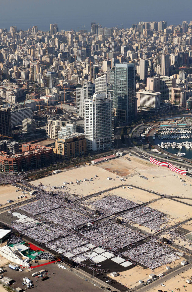 Photo -   An aerial view of the Lebanese capital's waterfront where Pope Benedict XVI held a mass in Beirut, Lebanon, Sunday, Sept. 16, 2012. Pope Benedict XVI celebrated an open-air Mass for tens of thousands of pilgrims from across the Middle East, saying Christians must do their part to end the