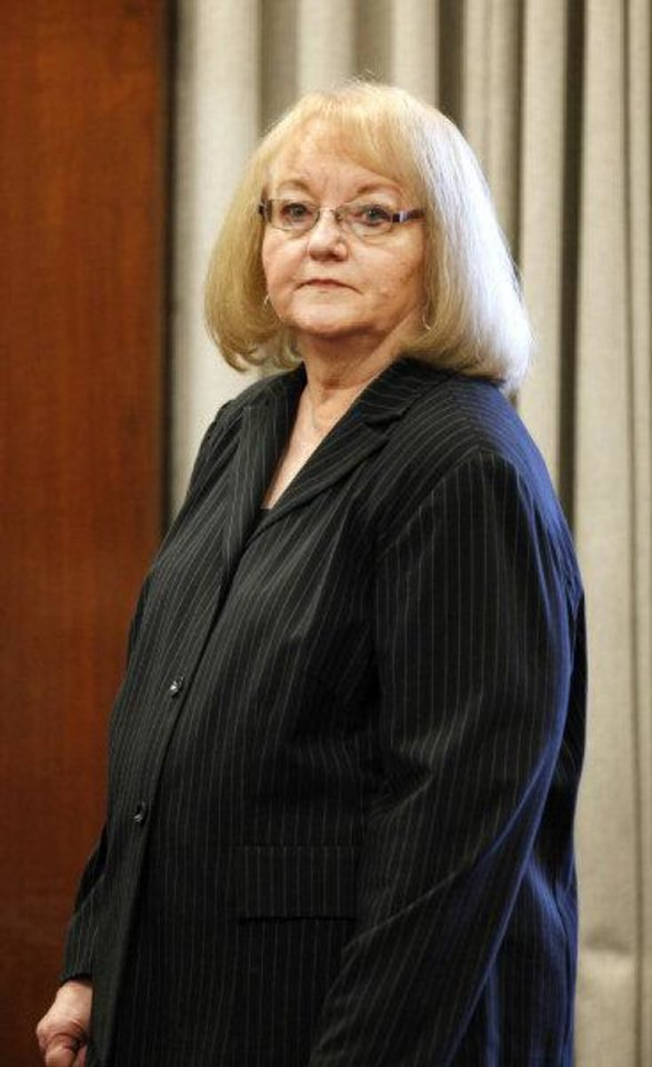 Photo - Former state Sen. Debbe Leftwich in the courtroom at the start of her preliminary hearing at the Oklahoma County Courthouse in Oklahoma City, Monday, Oct. 31, 2011.  Rep. Randy Terrill, R-Moore, is accused of offering Leftwich a bribe, an $80,000-a-year state job, to not run last year for re-election. Photo by Paul B. Southerland, The Oklahoman