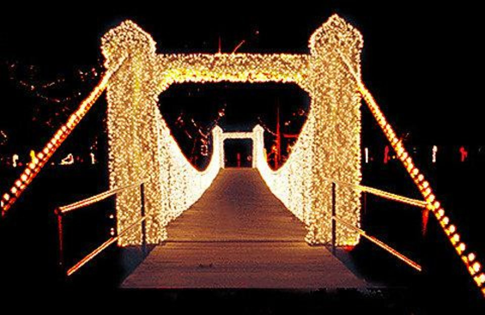 Photo - This lighted bridge is part of Kingfisher in Lights. Photo provided